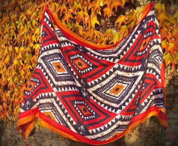 Oranžová šatka s farebnými vzormi Happy | Apropoyou.sk