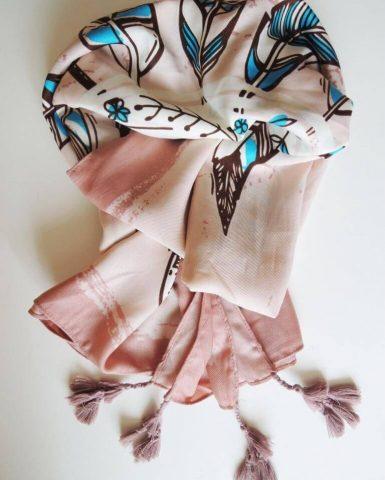 Šál ružový s modrými pierkami Pierko | Apropoyou.sk