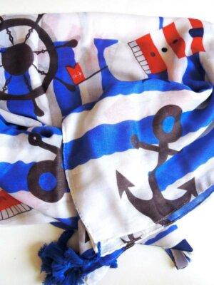 Šatka Ahoj, biela s modrým a červeným námorníckym motívom | Apropoyou.sk
