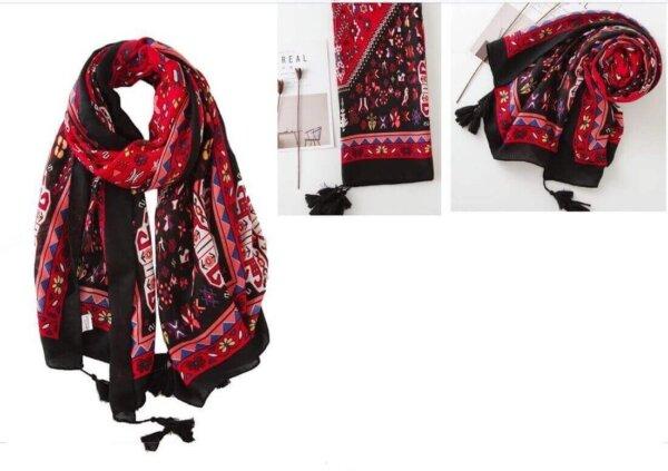 Červeno-čierna šatka Passion so vzorom | Apropoyou.sk