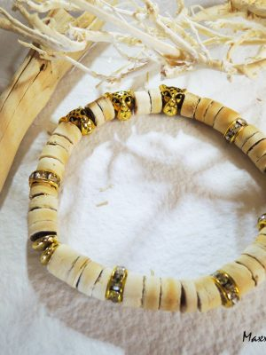 Náramok krémový Kokosové drevo s tigrími hlavami | Apropoyou.sk
