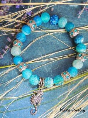 Modrý náramok s morským koníkom | Apropoyou.sk