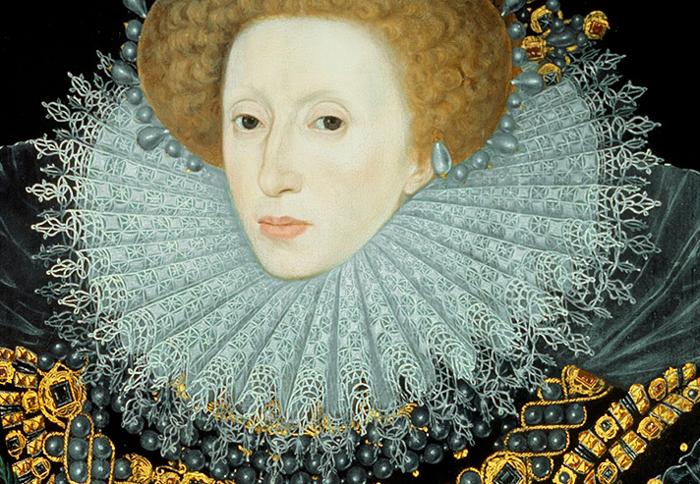Nicholas Hilliard (attr), Elizabeth I, 1585, Hatfield House. Detail.